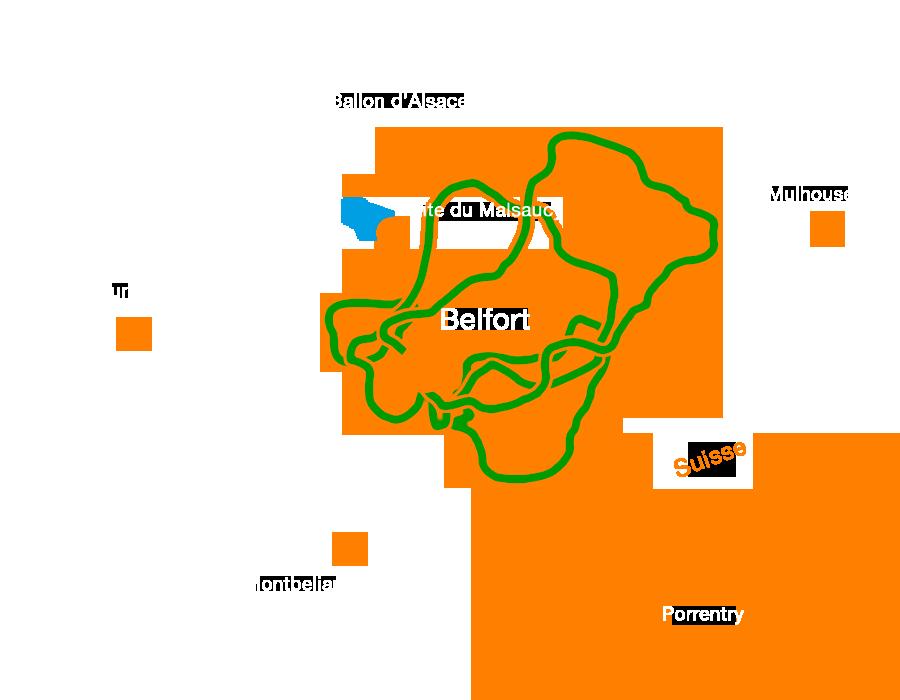 Circuits VTT traversant le Territoire de Belfort