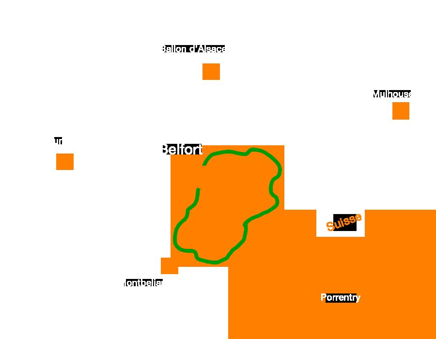 la Boucle 643 de la FVS , une voie verte traversant le Territoire de Belfort