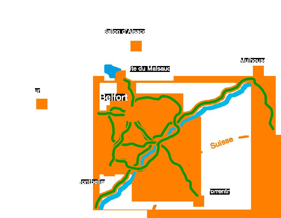 Voies vertes et véloroutes traversant le Territoire de Belfort