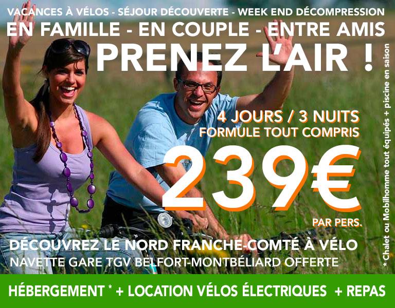 promo Hébergement plus Location de vélo électriques  4 jours 3 nuits