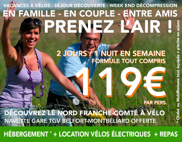 promo Hébergement plus Location de vélo électriques en semaine 2 jours 1 nuit
