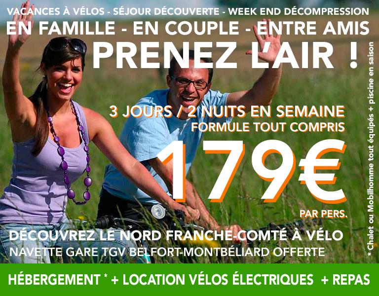 promo Hébergement plus Location de vélo électriques en semaine 3 jours 2 nuits