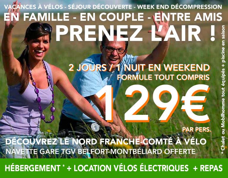 promo Hébergement plus Location de vélo électriques en week end 2 jours 1 nuit